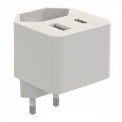 Type C PD + 1 USB wall charger with EU AC socket